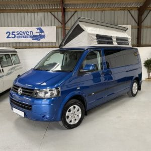 fully extended blue VW campervan