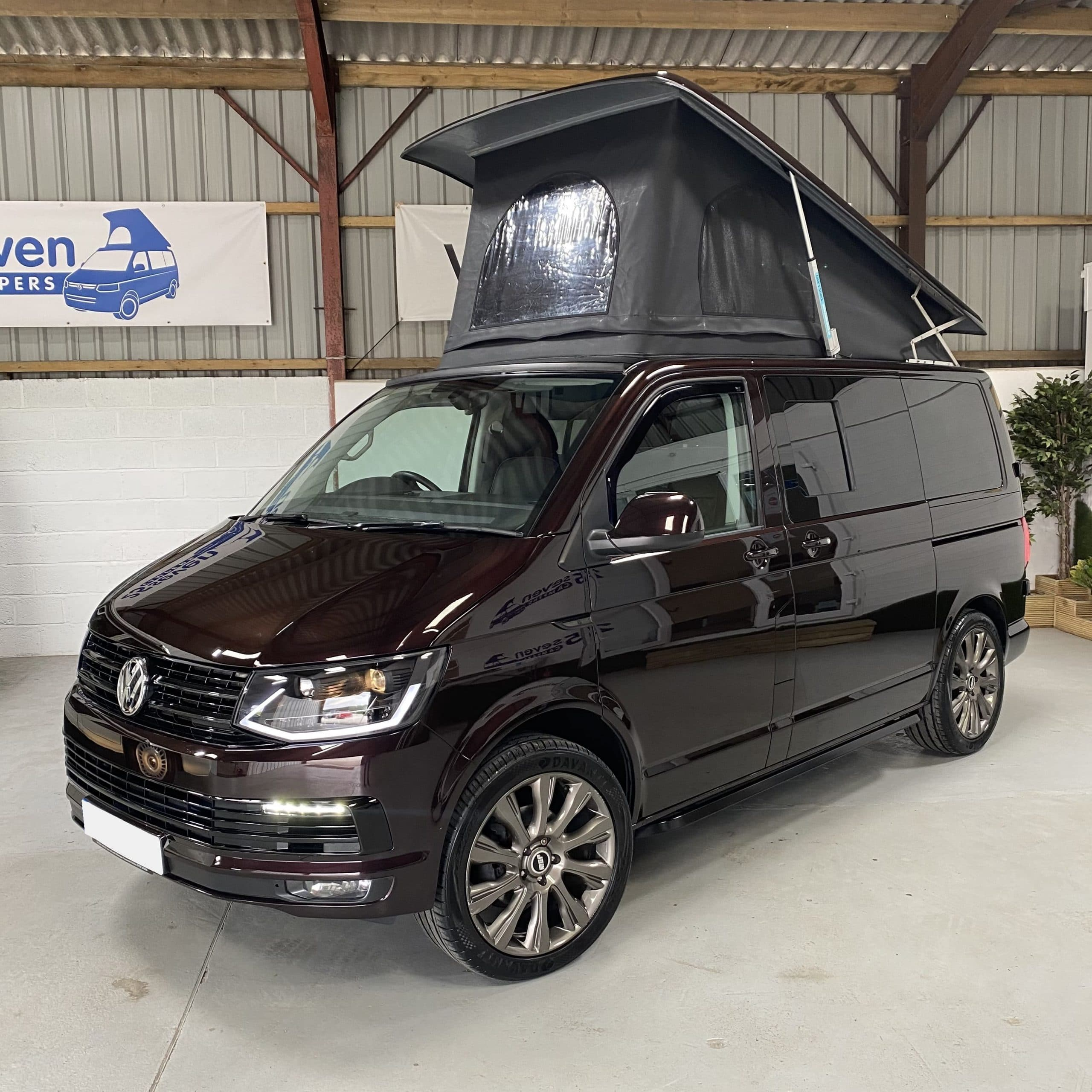 front view of fully extended VW campervan